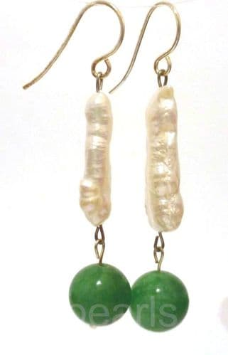 biwa pearl and jade earrings with silver hooks