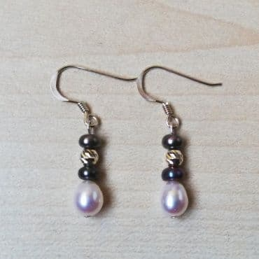 Black and White Pearls on 925 Sterling silver