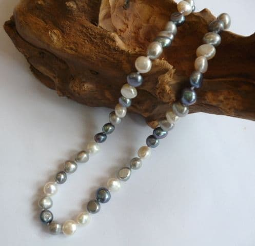 Black, White and Grey Baroque Pearl Necklace (Option 2)