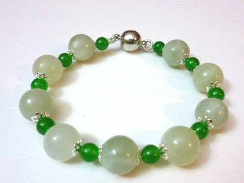 Bracelet of Light and Dark Green Jade