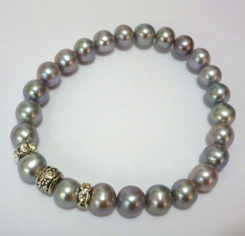 Grey Pearl Bracelet with Tibetan silver