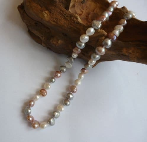 Grey, White and Lavender Baroque Pearl Necklace (Option 2)