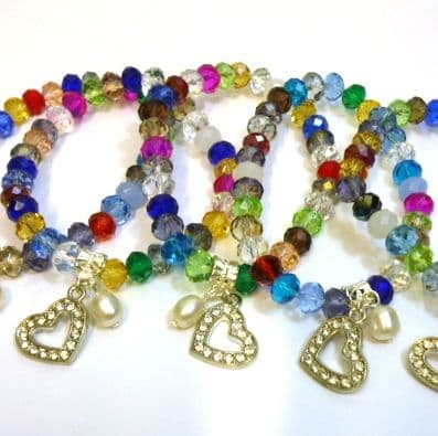 Multicoloured Austrian Crystal Bracelet with pendant pearl and heart.