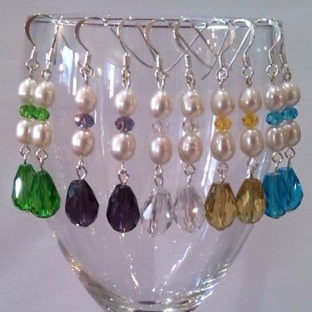Oval Pearl Double-Drop with Crystal