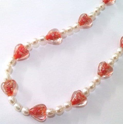 Oval pearls and Venetian glass heart necklace