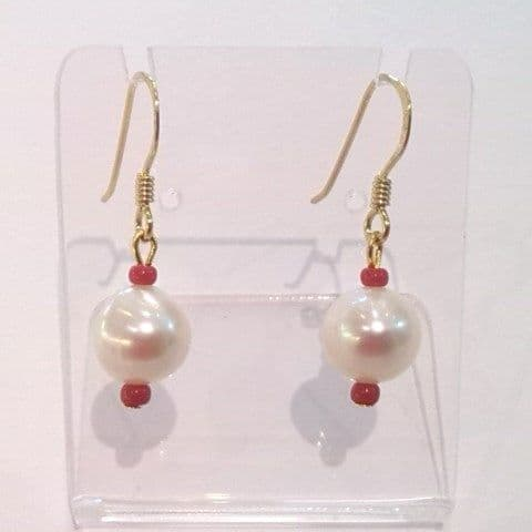 Pearl and Coral Drop ear-rings on Gold / Silver