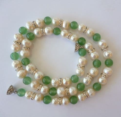 Pearl and Green Jade necklace