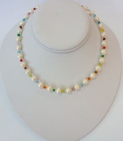 Pearl and 'Lampwork' Necklace
