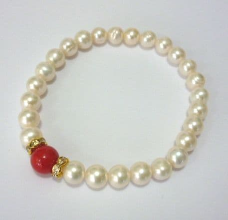 pearl bracelet with coral and rhinestones