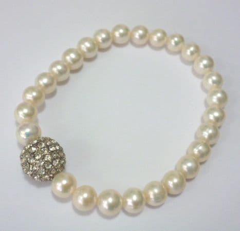 Pearl Bracelet with Shamballa Crystal Ball
