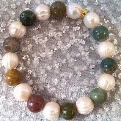 pearl, jade and jasper bracelet