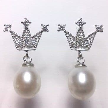 Sterling silver crown ear-rings with oval 'tear-drop' pearls.