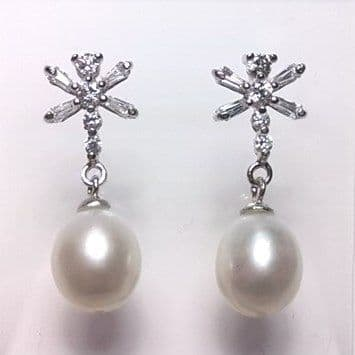 Sterling silver Regal Crown ear-rings with oval 'tear-drop' pearls.