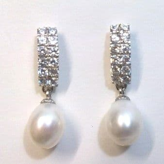 Sterling Silver, Zirconia crystals and White Pearl SORRY OUT OF STOCK