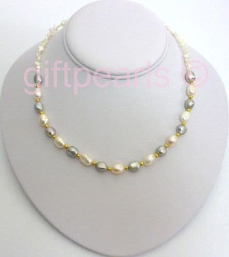 White and grey baroque pearl necklace