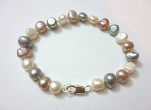 White, Grey and Lavender Bracelet