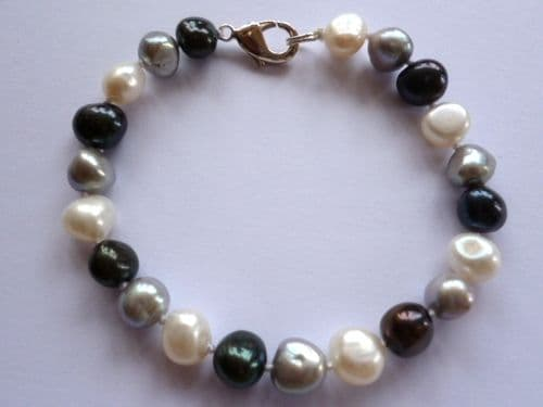 White, Grey, Black Baroque pearl bracelet