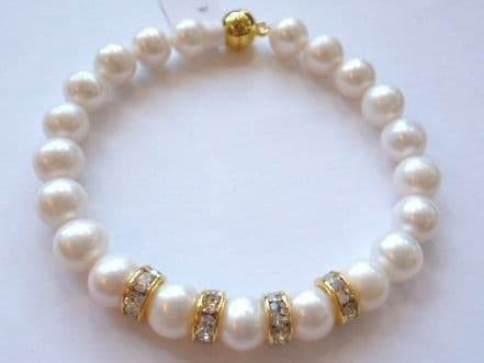 White Pearl Bracelet - with sparkle.