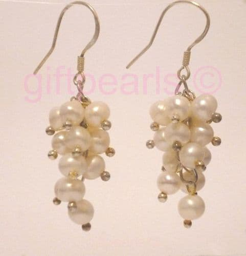 White pearl 'Grapes' ear-rings. OUT OF STOCK