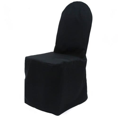 BLACK ROUND TOP SATIN POLYESTER CHAIR COVER