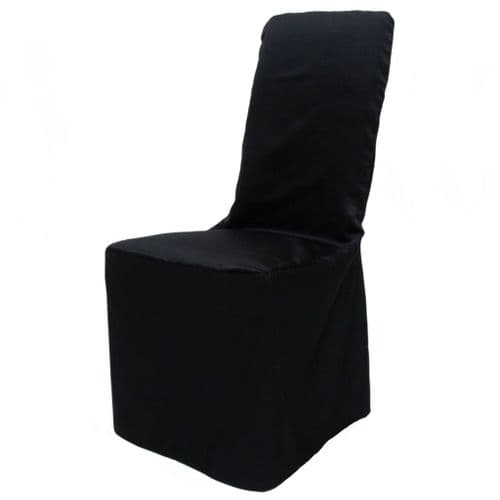 BLACK SQUARE TOP SATIN POLYESTER CHAIR COVER