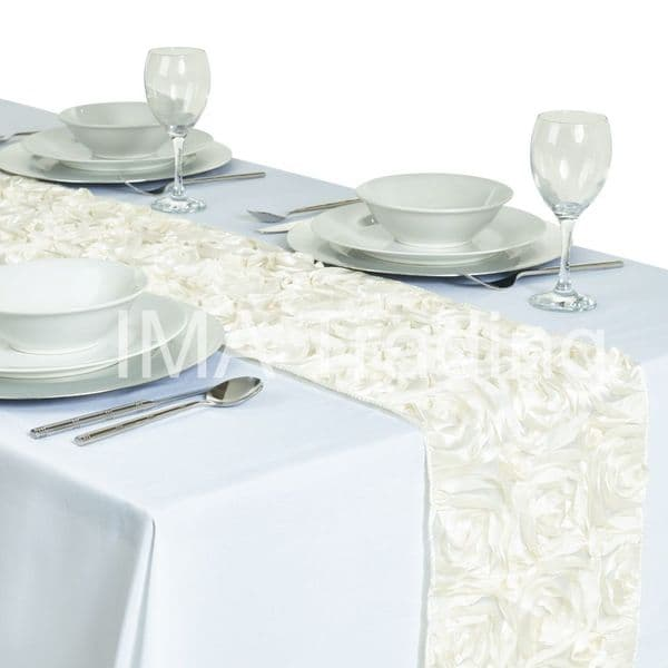 Ivory Rosette Table Runner