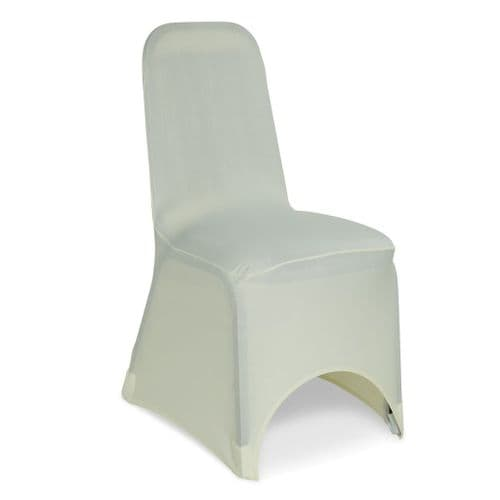 IVORY SPANDEX CHAIR COVER UNIVERSAL ARCH FRONT