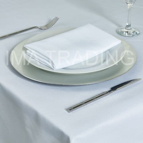 "WHITE ROUND TABLE CLOTH 180 cm / 70"" round"