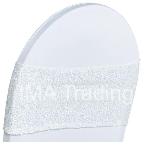 White Sequin Chair Band
