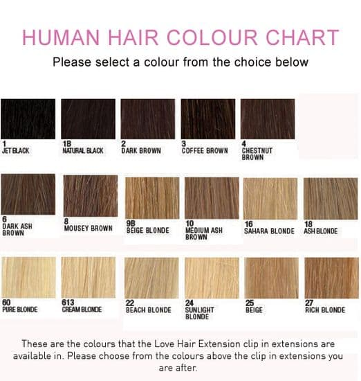 Colour Chart for Clip In Extensions