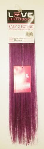 """Love Hair Extensions Easy-2-Extend Human Hair Clip In Extensions 18"""" Col. Purple TWIN PACK"""