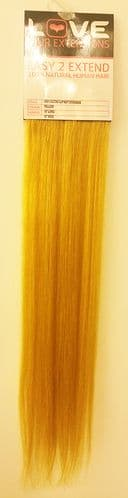 """Love Hair Extensions Easy-2-Extend Human Hair Clip In Extensions 18"""" length - colour Yellow TWIN PACK"""