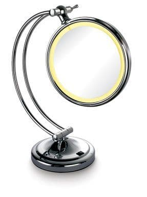 "Mirror-Smart LED Surrounded 7"" Double Sided Table-Top HD Mirror (normal zoom and 3x zoom)"