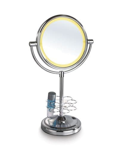 "Mirror-Smart LED Surrounded 7"" Double Sided Table-Top HD Mirror with Beauty tools holder (normal zoom and 3x zoom)"