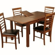 acacia extending dining table with 4 hanover chairs