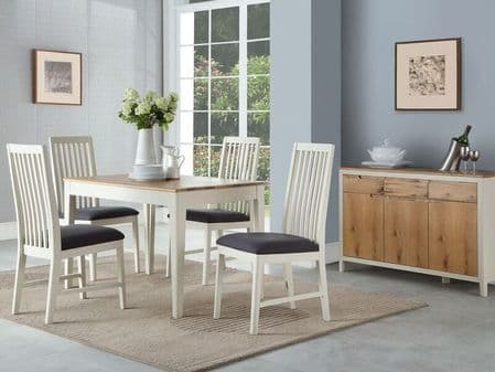 dunmoor oak and painted white dining set