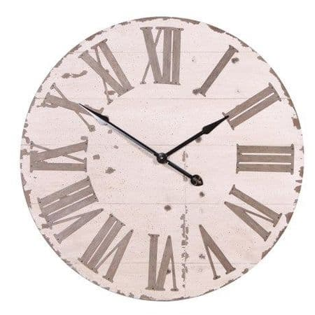 Large white and aged clock