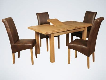 new thick top oak ext table with 4 air leather tan chairs