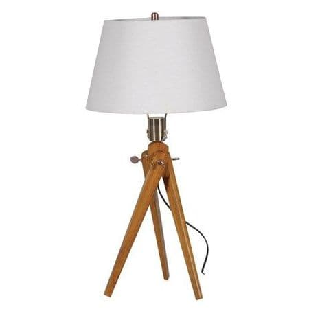 wooden tripod lamp with shade