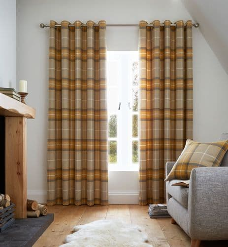 Catherine Lansfield Brushed Heritage Check Ochre Eyelet Curtains