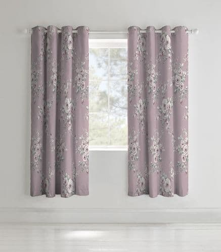 Catherine Lansfield Canterbury Heather Eyelet Curtains
