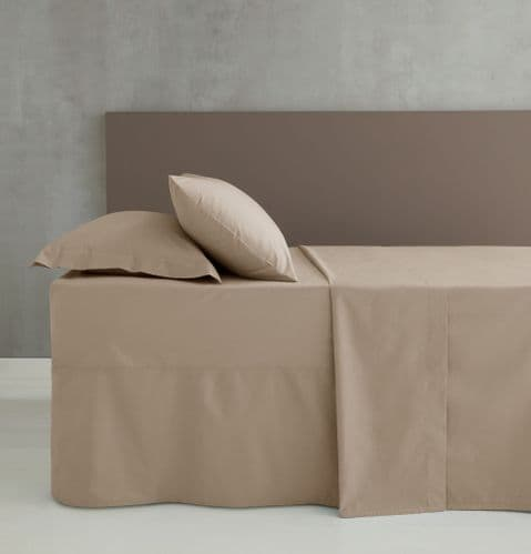 Catherine Lansfield Easy Iron Percale Natural Fitted Sheet