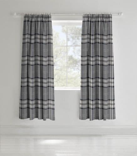 Catherine Lansfield Kelso Charcoal Pencil Pleat Curtains