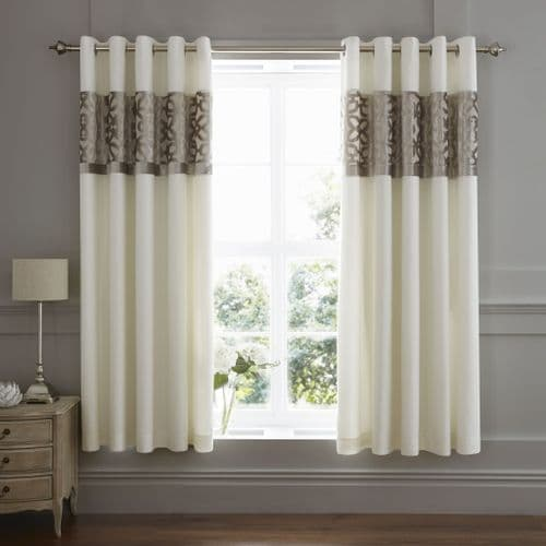 Catherine Lansfield Lattice Cut Velvet Natural Eyelet Curtains