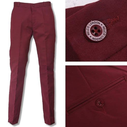 1960s Cut Sta Press Trousers Wine