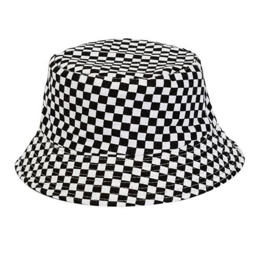 2 Tone Bucket Hat With Black And White Squares