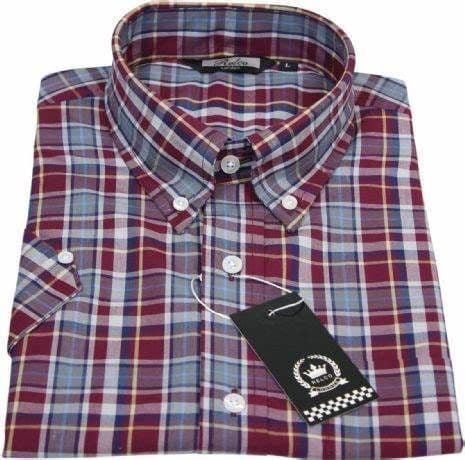 RELCO Wine & Grey  Short Sleeve Check Shirt