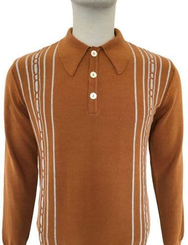 TROJAN Spearpoint Long Sleeve Top Golden Tan Stripe